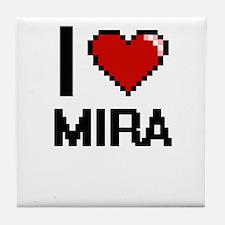 I Love Mira Digital Retro Design Tile Coaster
