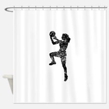 Vintage Womens Basketball Player Shower Curtain