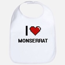 I Love Monserrat Digital Retro Design Bib