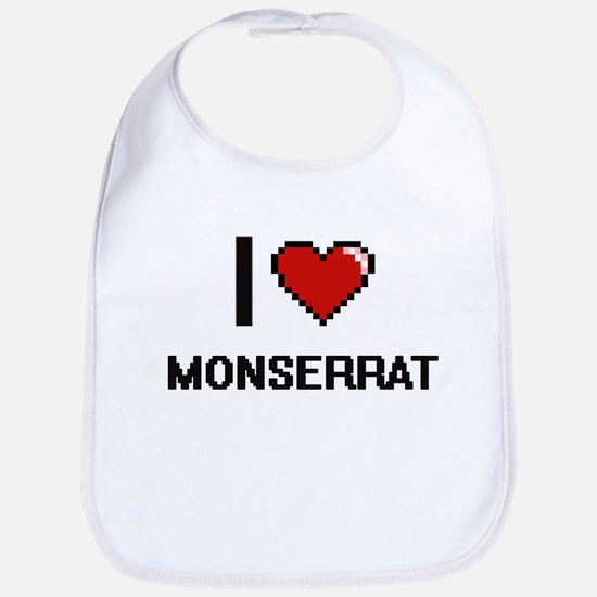 I Love Monserrat Digital Retro Design Bib