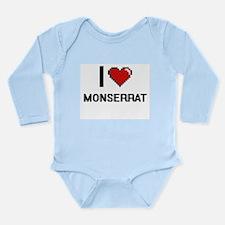 I Love Monserrat Digital Retro Design Body Suit