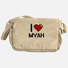 I Love Myah Digital Retro Design Messenger Bag