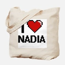 I Love Nadia Digital Retro Design Tote Bag