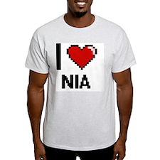 I Love Nia Digital Retro Design T-Shirt