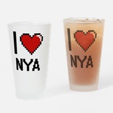 I Love Nya Digital Retro Design Drinking Glass