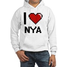 I Love Nya Digital Retro Design Hoodie Sweatshirt