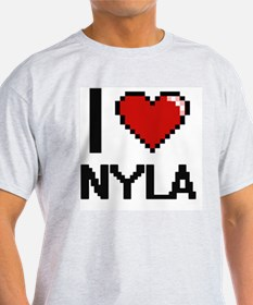 I Love Nyla Digital Retro Desig T-Shirt