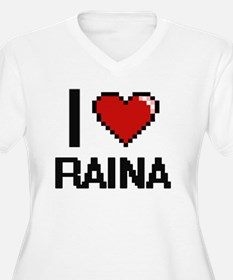 I Love Raina Digital Retro Desig Plus Size T-Shirt