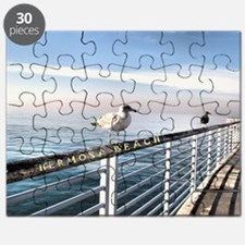 Hermosa Beach birds on a pier Puzzle
