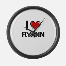 I Love Ryann Digital Retro Design Large Wall Clock