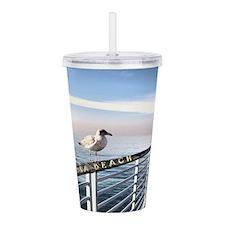 Hermosa Beach birds on Acrylic Double-wall Tumbler