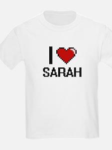 I Love Sarah Digital Retro Design T-Shirt