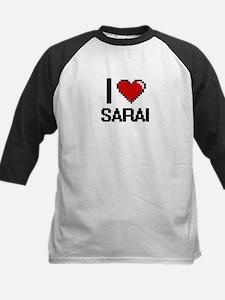 I Love Sarai Digital Retro Design Baseball Jersey