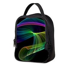 Chaotic Rainbow on Black Neoprene Lunch Bag