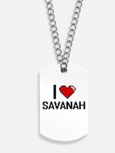 I Love Savanah Digital Retro Design Dog Tags
