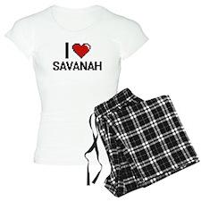 I Love Savanah Digital Retr Pajamas