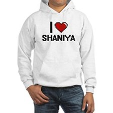 I Love Shaniya Digital Retro Des Hoodie Sweatshirt