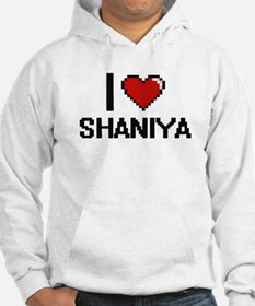 I Love Shaniya Digital Retro Des Hoodie Sweatshirt