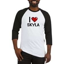 I Love Skyla Digital Retro Design Baseball Jersey
