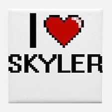 I Love Skyler Digital Retro Design Tile Coaster