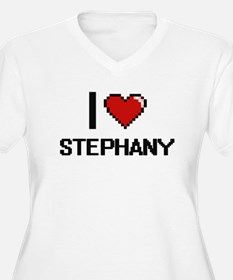 I Love Stephany Digital Retro De Plus Size T-Shirt