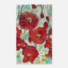 Glowing Red Poppies Area Rug
