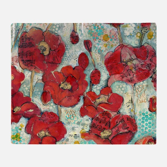 Glowing Red Poppies Throw Blanket