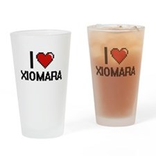I Love Xiomara Digital Retro Design Drinking Glass