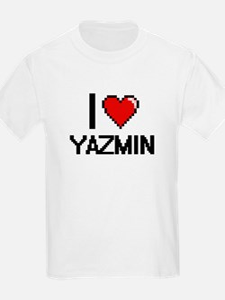 I Love Yazmin Digital Retro Design T-Shirt