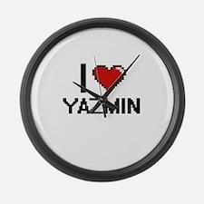 I Love Yazmin Digital Retro Desig Large Wall Clock