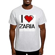 I Love Zaria Digital Retro Design T-Shirt
