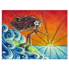 Sunrise Surfer Girl Poster