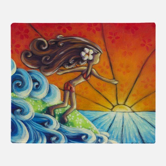 Sunrise Surfer Girl Throw Blanket