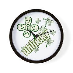 UNLUCKY Skulls Clover Wall Clock