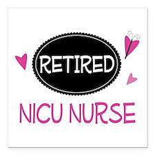 """Retired NICU Nurse Square Car Magnet 3"""" x 3"""""""