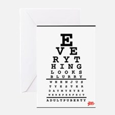 Adult Puberty Eye Chart Greeting Cards