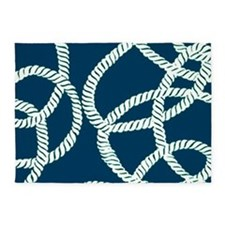 Nautical Rope Blue 5'x7'Area Rug