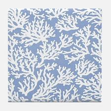 Coral Print Blue Tile Coaster