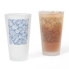 Coral Print Blue Drinking Glass
