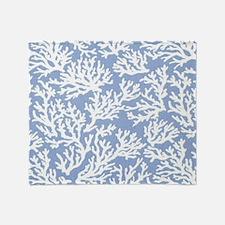 Coral Print Blue Throw Blanket