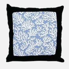 Coral Print Blue Throw Pillow