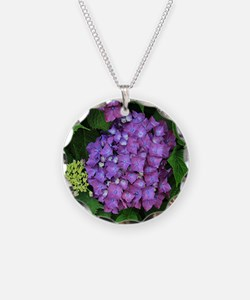 Purple pink hydrangea flower Necklace