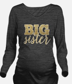Glitter Big Sister Long Sleeve Maternity T-Shirt