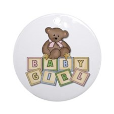 Pink Baby Block Bear Ornament (Round)