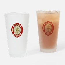 FD Symbol Red and Gold Drinking Glass