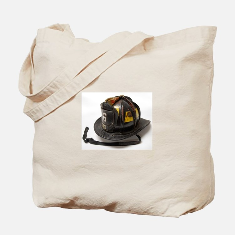 Old Leather Fire Helmet Tote Bag