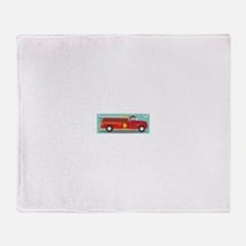 Kids Style Fire Truck with Dalmatian Throw Blanket
