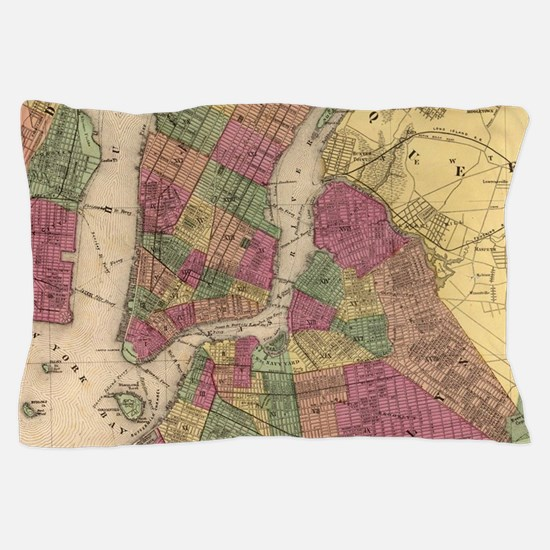 Vintage Map of NYC and Brooklyn (1868) Pillow Case