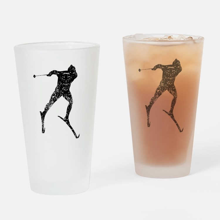 Vintage Cross Country Skier Drinking Glass