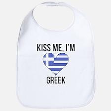 Kiss Me Im Greek Bib